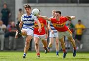 9 August 2020; James Minogue of Breaffy gets a shot in despite the efforts of Gavin Durcan of Castlebar Mitchels during the Mayo County Senior Football Championship Group 1 Round 3 match between Castlebar Mitchels and Breaffy at Páirc Josie Munnelly in Castlebar, Mayo. Photo by Brendan Moran/Sportsfile