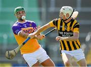 9 August 2020; Richie Kehoe of Faythe Harriers in action against Sean Keane-Carroll of Shelmaliers during the Wexford County Senior Hurling Championship Quarter-Final match between Faythe Harriers and Shelmaliers at Chadwicks Wexford Park in Wexford. Photo by Harry Murphy/Sportsfile