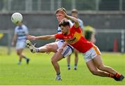 9 August 2020; Paddy Burke of Breaffy in action against Donal Newcombe of Castlebar Mitchels during the Mayo County Senior Football Championship Group 1 Round 3 match between Castlebar Mitchels and Breaffy at Páirc Josie Munnelly in Castlebar, Mayo. Photo by Brendan Moran/Sportsfile