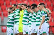9 August 2020; Shamrock Rovers players stand for a minutes silence in tribute to the late Derry native John Hume, key architect of the Good Friday Agreement and co-recipient of the 1998 Nobel Peace Prize, during the SSE Airtricity League Premier Division match between Derry City and Shamrock Rovers at Ryan McBride Brandywell Stadium in Derry. Photo by Stephen McCarthy/Sportsfile