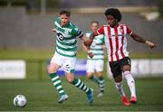 9 August 2020; Ronan Finn of Shamrock Rovers in action against Walter Figueira of Derry City during the SSE Airtricity League Premier Division match between Derry City and Shamrock Rovers at Ryan McBride Brandywell Stadium in Derry. Photo by Stephen McCarthy/Sportsfile