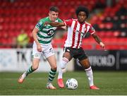 9 August 2020; Walter Figueira of Derry City in action against Gary O'Neill of Shamrock Rovers during the SSE Airtricity League Premier Division match between Derry City and Shamrock Rovers at Ryan McBride Brandywell Stadium in Derry. Photo by Stephen McCarthy/Sportsfile