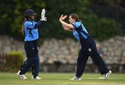 9 August 2020; Amy Hunter, left, and Laura Delany of Typhoons celebrate the wicket of Gaby Lewis of Scorchers during the Women's Super Series match between Scorchers and Typhoons at Pembroke Cricket Club in Park Avenue, Dublin. Photo by Sam Barnes/Sportsfile