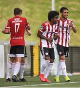 9 August 2020; Walter Figueira is congratulated by his Derry City team-mate Gerardo Bruna, right, after scoring their first goal during the SSE Airtricity League Premier Division match between Derry City and Shamrock Rovers at Ryan McBride Brandywell Stadium in Derry. Photo by Stephen McCarthy/Sportsfile