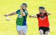 9 August 2020; Thomas Gordon of Tynagh Abbey Duniry in action against Noel Gorman of Tommy Larkins during the Galway County Senior Hurling Championship Group 1 match between Tommy Larkins and Tynagh Abbey Duniry at Duggan Park in Ballinasloe, Galway. Photo by Ramsey Cardy/Sportsfile