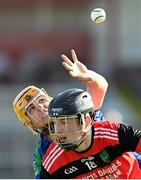 9 August 2020; David Jordan of Tynagh Abbey Duniry in action against Adam Page of Tommy Larkins during the Galway County Senior Hurling Championship Group 1 match between Tommy Larkins and Tynagh Abbey Duniry at Duggan Park in Ballinasloe, Galway. Photo by Ramsey Cardy/Sportsfile