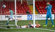 9 August 2020; Derry City goalkeeper Peter Cherrie and Colm Horgan react to conceding their first goal as Dean Williams of Shamrock Rovers runs away in celebration during the SSE Airtricity League Premier Division match between Derry City and Shamrock Rovers at Ryan McBride Brandywell Stadium in Derry. Photo by Stephen McCarthy/Sportsfile