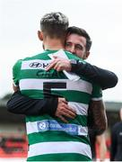 9 August 2020; Shamrock Rovers manager Stephen Bradley and Lee Grace following the SSE Airtricity League Premier Division match between Derry City and Shamrock Rovers at Ryan McBride Brandywell Stadium in Derry. Photo by Stephen McCarthy/Sportsfile