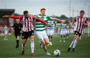 9 August 2020; Rory Gaffney of Shamrock Rovers in action against Darren Cole of Derry City during the SSE Airtricity League Premier Division match between Derry City and Shamrock Rovers at Ryan McBride Brandywell Stadium in Derry. Photo by Stephen McCarthy/Sportsfile