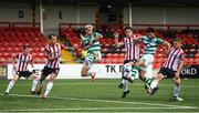 9 August 2020; Roberto Lopes of Shamrock Rovers has a shot on goal despite the attention of Eoin Toal, left, and Colm Horgan of Derry City during the SSE Airtricity League Premier Division match between Derry City and Shamrock Rovers at Ryan McBride Brandywell Stadium in Derry. Photo by Stephen McCarthy/Sportsfile