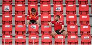 9 August 2020; Conor Clifford, right, and Stephen Mallon of Derry City prior to the SSE Airtricity League Premier Division match between Derry City and Shamrock Rovers at Ryan McBride Brandywell Stadium in Derry. Photo by Stephen McCarthy/Sportsfile