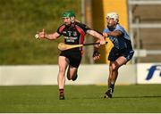 9 August 2020; Anthony Roche of Oulart-The Ballagh in action against Jonathan Fogarty of St Anne's Rathangan during the Wexford County Senior Hurling Championship Quarter-Final match between St Anne's Rathangan and Oulart-The Ballagh at Chadwicks Wexford Park in Wexford. Photo by Harry Murphy/Sportsfile
