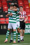 9 August 2020; Lee Grace and Roberto Lopes, right, of Shamrock Rovers celebrate following the SSE Airtricity League Premier Division match between Derry City and Shamrock Rovers at Ryan McBride Brandywell Stadium in Derry. Photo by Stephen McCarthy/Sportsfile