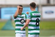 9 August 2020; Graham Burke, left, and Ronan Finn of Shamrock Rovers following the SSE Airtricity League Premier Division match between Derry City and Shamrock Rovers at Ryan McBride Brandywell Stadium in Derry. Photo by Stephen McCarthy/Sportsfile
