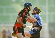 9 August 2020; Garrett Sinnott of Oulart-The Ballagh fouls Paraic O'Keeffe of St Anne's Rathangan resulting in a red card during the Wexford County Senior Hurling Championship Quarter-Final match between St Anne's Rathangan and Oulart-The Ballagh at Chadwicks Wexford Park in Wexford. Photo by Harry Murphy/Sportsfile