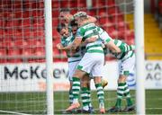 9 August 2020; Roberto Lopes, centre, is congratulated by Shamrock Rovers team-mates Dean Williams, left, Aaron McEneff, top, and Lee Grace, 5, after scoring their second goal during the SSE Airtricity League Premier Division match between Derry City and Shamrock Rovers at Ryan McBride Brandywell Stadium in Derry. Photo by Stephen McCarthy/Sportsfile