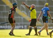 9 August 2020; Garrett Sinnott of Oulart-The Ballagh is shown a red card by referee David Jenkins during the Wexford County Senior Hurling Championship Quarter-Final match between St Anne's Rathangan and Oulart-The Ballagh at Chadwicks Wexford Park in Wexford. Photo by Harry Murphy/Sportsfile
