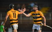 9 August 2020; Ray Barry of Lismore celebrates with team-mate Paudi Prendergast after scoring his side's sixth goal during the Waterford County Senior Hurling Championship Group D match between Dungarvan and Lismore at Fraher Field in Dungarvan, Waterford. Photo by Eóin Noonan/Sportsfile