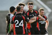 9 August 2020; Martin Óg Storey of Oulart-The Ballagh, second right, celebrates with team-mate Daryl Gray following the Wexford County Senior Hurling Championship Quarter-Final match between St Anne's Rathangan and Oulart-The Ballagh at Chadwicks Wexford Park in Wexford. Photo by Harry Murphy/Sportsfile