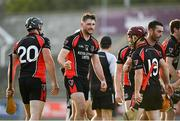 9 August 2020; Martin Óg Storey of Oulart-The Ballagh, centre, celebrates with team-mates following the Wexford County Senior Hurling Championship Quarter-Final match between St Anne's Rathangan and Oulart-The Ballagh at Chadwicks Wexford Park in Wexford. Photo by Harry Murphy/Sportsfile