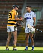 9 August 2020; Darren Duggan of Dungarvan with Dan Shanahan of Lismore following the Waterford County Senior Hurling Championship Group D match between Dungarvan and Lismore at Fraher Field in Dungarvan, Waterford. Photo by Eóin Noonan/Sportsfile