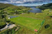 10 August 2020; An aerial view of Páirc Acla, home to Fintown Harps AFC, on the shore of Lough Finn in Donegal. Photo by Ramsey Cardy/Sportsfile