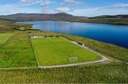 10 August 2020; An aerial view of Glentornan Park, home of Dunlewey Celtic, in Donegal. The pitch is on the shore of Dunlewey Lough, and at the base of Mount Errigal, which is Donegal's tallest peak at 751m. Photo by Ramsey Cardy/Sportsfile