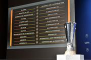10 August 2020; A general view of the draw result including Derry City FC during the UEFA Europa League 2020/21 First Qualifying Round Draw at the UEFA Headquarters, The House of European Football in Nyon, Switzerland. Photo by UEFA via Sportsfile