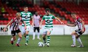 9 August 2020; Jack Byrne of Shamrock Rovers in action against Conor McCormack, left, and Jack Malone of Derry City during the SSE Airtricity League Premier Division match between Derry City and Shamrock Rovers at Ryan McBride Brandywell Stadium in Derry. Photo by Stephen McCarthy/Sportsfile