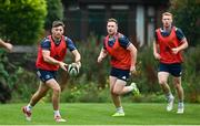 10 August 2020; Ross Byrne, left, Rory O'Loughlin, centre, and Ciarán Frawley during Leinster Rugby squad training at UCD in Dublin. Photo by Ramsey Cardy/Sportsfile