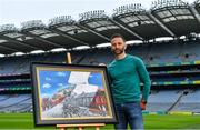 12 August 2020; A picture paints 100 words: Artist David Sweeney, who is a former Dublin senior hurling captain and eLearning Manager at Croke Park, shows his specially commissioned Bloody Sunday commemoration artwork at the launch of the GAA Museum's Bloody Sunday centenary events series. For a full list of events over the coming months visit www.crokepark.ie/bloodysunday Photo by Brendan Moran/Sportsfile