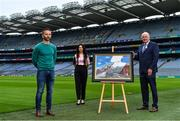 12 August 2020; A picture paints 100 words: Artist David Sweeney, who is a former Dublin senior hurling captain and eLearning Manager at Croke Park, shows his specially commissioned Bloody Sunday commemoration artwork to Director of the GAA Museum Niamh McCoy and Uachtarán Chumann Lúthchleas Gael John Horan at the launch of the GAA Museum's Bloody Sunday centenary events series. For a full list of events over the coming months visit www.crokepark.ie/bloodysunday Photo by Brendan Moran/Sportsfile