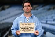 12 August 2020; The GAA Museum Remembers Bloody Sunday tragedy: Dublin footballer Michael Darragh MacAuley remembers the 14 victims who lost their lives in the Bloody Sunday tragedy 100 years on at the launch of the GAA Museum's Bloody Sunday centenary events series at Croke Park. For a full list of events over the coming months visit www.crokepark.ie/bloodysunday. Photo by Brendan Moran/Sportsfile