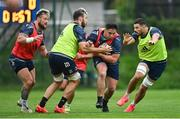 10 August 2020; Players, from left, Andrew Porter, Caelan Doris, Tom Clarkson, and Max Deegan during Leinster Rugby squad training at UCD in Dublin. Photo by Ramsey Cardy/Sportsfile