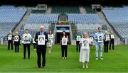 10 August 2020; The GAA Museum Remembers Bloody Sunday tragedy: Remembering the 14 victims who lost their lives in the Bloody Sunday tragedy 100 years on. Pictured here at the launch of the Museum's Bloody Sunday centenary events series are, from left, Croke Park Tour Guide Aran O'Reilly, Croke Park Chief Steward Mick Leddy, Tipperary footballer Bill Maher, Alannah Behan from Glasnevin in Dublin, Uachtarán Chumann Lúthchleas Gael John Horan, Dr. Siobhán Doyle of TU Dublin, Director of the GAA Museum Niamh McCoy, Artist David Sweeney, GAA Museum Events Manager, Julianne McKeigue, a descendent of Tipperary footballer Michael Hogan who was killed during the Bloody Sunday attack, Michael McLoughlin of Glasnevin in Dublin, Dublin footballer Michael Darragh MacAuley, Croke Park Deputy Chief Steward Mairead O'Carroll and Croke Park Your Guide Gerry McGarry all holding drawings of the victims of the tragedy. For a full list of events over the coming months visit www.crokepark.ie/bloodysunday. Photo by Brendan Moran/Sportsfile