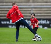 10 August 2020; Adam McGill, age 6, contests the ball with Chris Forrester of St Patrick's Athletic prior to the Extra.ie FAI Cup First Round match between Finn Harps and St. Patrick's Athletic at Finn Park in Ballybofey, Donegal. Photo by Stephen McCarthy/Sportsfile