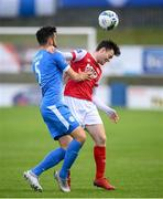 10 August 2020; Jason McClelland of St Patrick's Athletic in action against David Webster of Finn Harps during the Extra.ie FAI Cup First Round match between Finn Harps and St. Patrick's Athletic at Finn Park in Ballybofey, Donegal. Photo by Stephen McCarthy/Sportsfile
