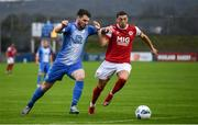 10 August 2020; Stephen Folan of Finn Harps in action against Jordan Gibson of St Patrick's Athletic during the Extra.ie FAI Cup First Round match between Finn Harps and St. Patrick's Athletic at Finn Park in Ballybofey, Donegal. Photo by Stephen McCarthy/Sportsfile