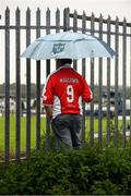 10 August 2020; St Patrick's Athletic supporter Brian Manning watches on from outside Finn Park during the Extra.ie FAI Cup First Round match between Finn Harps and St. Patrick's Athletic at Finn Park in Ballybofey, Donegal. Photo by Stephen McCarthy/Sportsfile