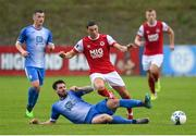 10 August 2020; Jordan Gibson of St Patrick's Athletic in action against Stephen Folan of Finn Harps during the Extra.ie FAI Cup First Round match between Finn Harps and St. Patrick's Athletic at Finn Park in Ballybofey, Donegal. Photo by Stephen McCarthy/Sportsfile