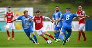 10 August 2020; Darragh Markey of St Patrick's Athletic in action against Ryan Connolly, left, and Ruairi Harkin of Finn Harps during the Extra.ie FAI Cup First Round match between Finn Harps and St. Patrick's Athletic at Finn Park in Ballybofey, Donegal. Photo by Stephen McCarthy/Sportsfile