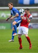 10 August 2020; Ryan Connolly of Finn Harps in action against Ian Bermingham of St Patrick's Athletic during the Extra.ie FAI Cup First Round match between Finn Harps and St. Patrick's Athletic at Finn Park in Ballybofey, Donegal. Photo by Stephen McCarthy/Sportsfile