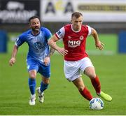 10 August 2020; Jamie Lennon of St Patrick's Athletic in action against Rafael Cretaro of Finn Harps during the Extra.ie FAI Cup First Round match between Finn Harps and St. Patrick's Athletic at Finn Park in Ballybofey, Donegal. Photo by Stephen McCarthy/Sportsfile