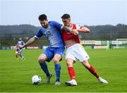 10 August 2020; Stephen Folan of Finn Harps in action against Martin Rennie of St Patrick's Athletic during the Extra.ie FAI Cup First Round match between Finn Harps and St. Patrick's Athletic at Finn Park in Ballybofey, Donegal. Photo by Stephen McCarthy/Sportsfile