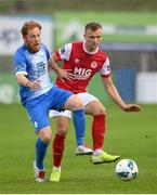 10 August 2020; Jamie Lennon of St Patrick's Athletic in action against Ryan Connolly of Finn Harps during the Extra.ie FAI Cup First Round match between Finn Harps and St. Patrick's Athletic at Finn Park in Ballybofey, Donegal. Photo by Stephen McCarthy/Sportsfile