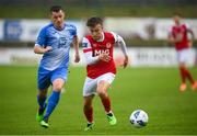 10 August 2020; Darragh Markey of St Patrick's Athletic in action against Ruairi Harkin of Finn Harps during the Extra.ie FAI Cup First Round match between Finn Harps and St. Patrick's Athletic at Finn Park in Ballybofey, Donegal. Photo by Stephen McCarthy/Sportsfile