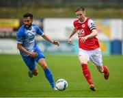 10 August 2020; Ian Bermingham of St Patrick's Athletic in action against David Webster of Finn Harps during the Extra.ie FAI Cup First Round match between Finn Harps and St. Patrick's Athletic at Finn Park in Ballybofey, Donegal. Photo by Stephen McCarthy/Sportsfile