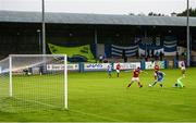 10 August 2020; Ryan Connolly of Finn Harps shoots to score his side's first goal during the Extra.ie FAI Cup First Round match between Finn Harps and St. Patrick's Athletic at Finn Park in Ballybofey, Donegal. Photo by Stephen McCarthy/Sportsfile