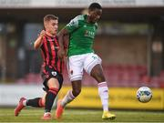 11 August 2020; Joseph Olowu of Cork City in action against Aaron McNally of Longford Town during the Extra.ie FAI Cup First Round match between Cork City and Longford Town at Turners Cross in Cork. Photo by Eóin Noonan/Sportsfile