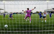 11 August 2020; Sean Hoare of Dundalk heads his side's first goal past Waterford goalkeeper Tadhg Ryan during the Extra.ie FAI Cup First Round match between Dundalk and Waterford FC at Oriel Park in Dundalk, Louth. Photo by Stephen McCarthy/Sportsfile